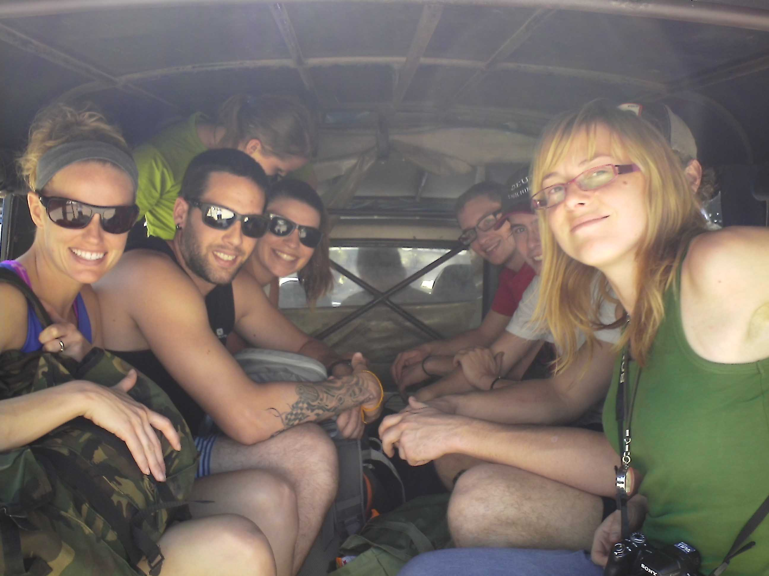 The whole crew loaded up in the swangthaew on our way to trek