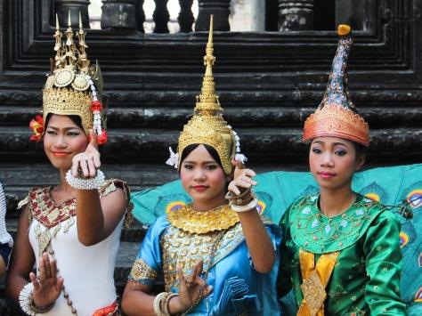 costumed girls at angkor wat, faces of angkor wat, faces of cambodia, cambodian kids